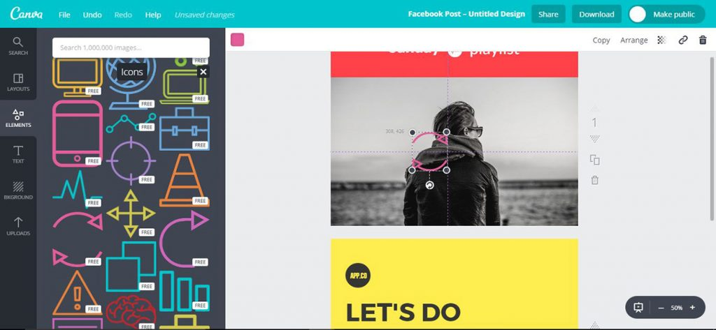 Screenshot from Canva, a fast DTP program