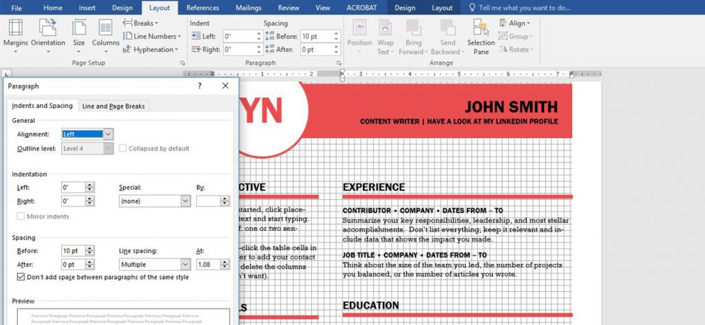 Screenshot from Word: a DTP program within everyone's reach