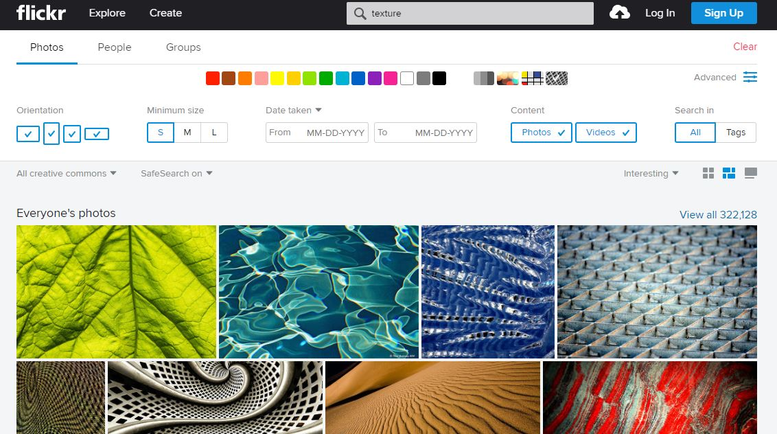 Flickr search screen for free photos