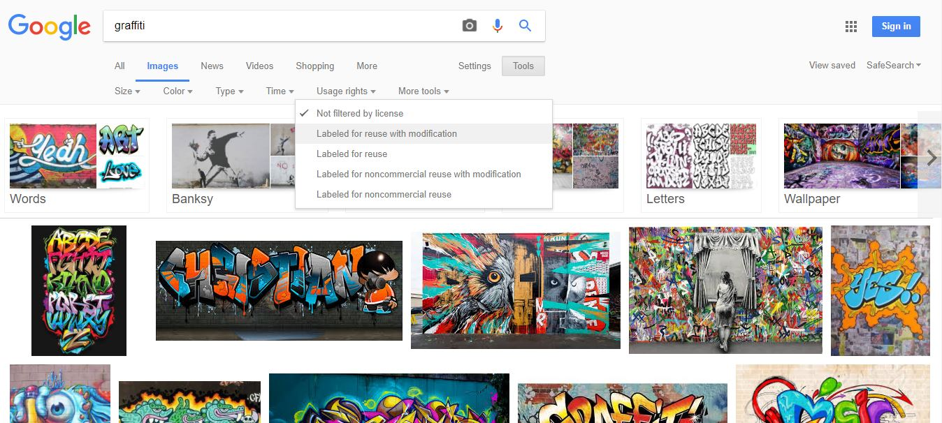 Google search screen for free photos