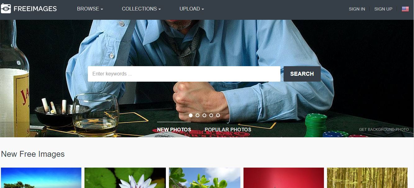 The home page of the Freeimages free photo site